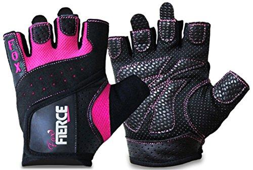 Damen-Gewichtheberhandschuhe in schwarz oder pink plus *GRATIS* gepolsterte 8-förmige Zughilfen für Kraftdreikampf/Powerlifting und schwerere Gewichte (Tan Golf Damen Schuhe)