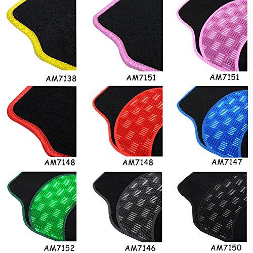 Auto Fußmatten/Auto Matten, Stoff Teppich mit PVC, Universal passend, 4-teilige Riffelblech, rutschfest, Luxus Design P01 (Schwarz/Rosa)
