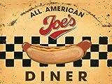Alle Amerikanisch Joe´s Abendessen. Hot Hund, straßenrand cafe, 50er jahre, 60er Dinner essen, zeichen für küche, haus, heim, Cafe, kaffee laden, pub, restaurant. Metall/Stahl Wandschild - 9 x 6.5 cm (Magnet)