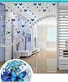 LIQICAI Türvorhang Schmetterling Perlen Vorhang Kristall Für Hochzeit Party Club Schaufenster Raumteiler, Tiefblau, 6 Größen verfügbar (Größe : 210 * 125cm)