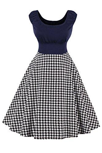 Babyonlinedress® Hochwertig Damen Vintage Kleid Hahnentritt Faltenrock Abendkleider im 50er-Jahre-Stil Groß Größe Navyblau 4XL