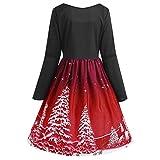 TIFIY Damen Weihnachtskleid, Damen Bedruckt Swing Kleid Langarm Spitzen Bandage Cocktailkleid Herbst Party Abendkleider(Wein,5XL)