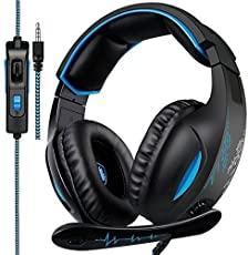 2018 Sades SA816 3.5mm Multi-Platform Cuffie Gaming, Cuffie da Gioco Con Microfono Controllo del Volume Noise Cancelling Per New Xbox uno/PS4/PC/Laptop/Mac/iPad/iPod(Nero/Blu)