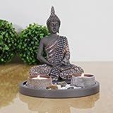 Buddha Sitzend mit Teelicht Deko-Statue für Wohnzimmer oder Bad Zen-Garten Deko-Figur Teelichthalter orientalisch (Nr. 1)