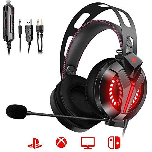 ONIKUMA PS4 Gaming Headset 7.1 - Gaming-Headset Spiel-Headset mit lärmreduziertem Mikrofon, Leichtgewichtige Over-Ear Kopfhörer mit LED, Mikrofon Lautstärkeregler für PS4 Xbox One PC Switch