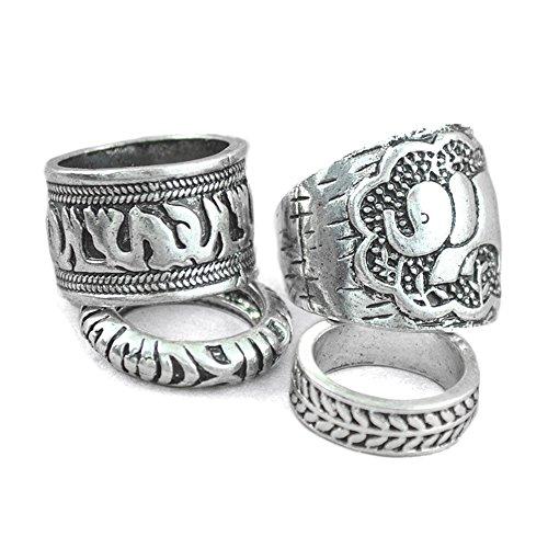 Mangotree 4ST Silber Vintage Retro Elefant Gemeinsame Knuckle Punk Nagel Ring Boho Style (One size, Silver)