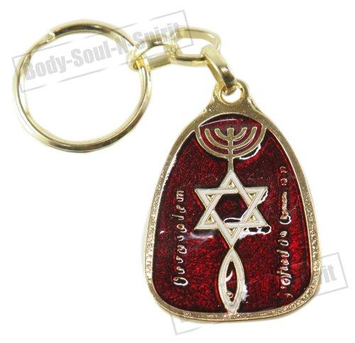 Body-soul-n-spirit - décoration murale Étoile de David & Menorah Porte-clés Rouge amulette Porte Bonheur idée Cadeau