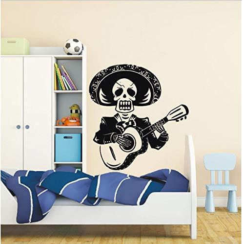 er Schädel Halloween Tod Teufel Art Design Kreative Mann Spielen Die Gitarre Wandaufkleber Mexiko Mariachi Mit Sombrero Vinyl Wandbild Home Special Decor 56x57 cm ()