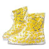 PANGUN PVC-Frauen Regen Schuhe Decken Doppelte Schichten Wasserdichter Regen Wieder Verwendbare Schuhe Deckt Rutschfester Regen-M-Gelb