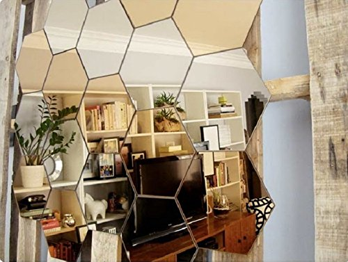 Naveed Arts - Acrylic Hexagon wall decor - 10 Silver & 10 Golden mirror JB042SG20 Factory Outlet