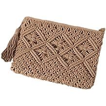 Haodou 1 Unids Bolsa de Paja Bohemia Ratán Bolso de Embrague Para Las Mujeres Crochet Playa