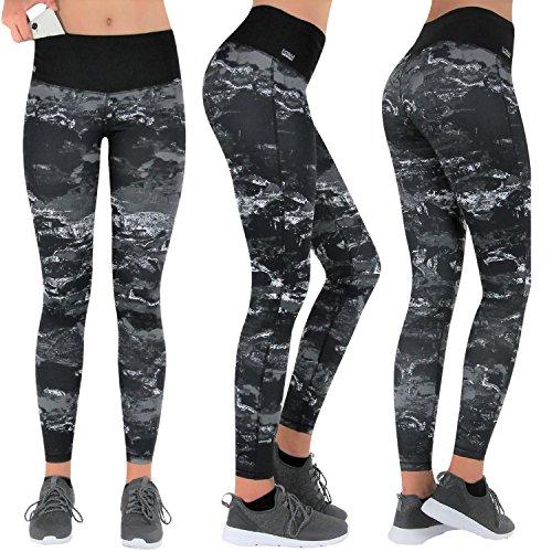 Preisvergleich Produktbild Formbelt® Laufhose Damen mit Tasche lang - Leggins Stretch-Hose Lauf-Tights für Smartphone iPhone Handy Schlüssel Yoga (Marmor L)