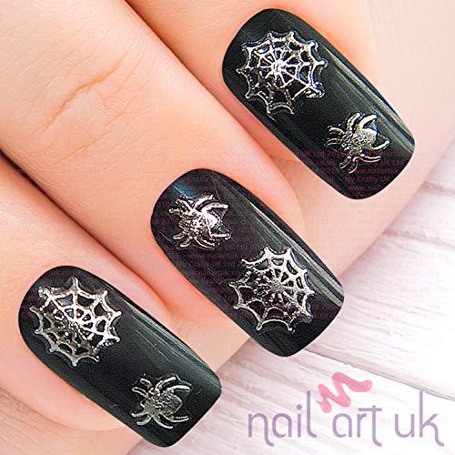 Nailart Sticker Halloween Spinnennetz Silber selbstklebend - Spinne