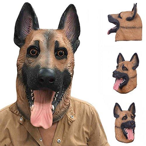 �fer Latex Maske Hund Tier Maske Karneval Maske Hund Kopf Hund für Cosplay Kostüm Halloween Kostüm Party Zubehör Tier Maske für Erwachsene Unisex (deutscher schäferhund) (Tier Kostüm-köpfe)