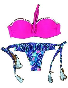 Conjuntos de Bikini Sexy Traje de Baño Trajes de Baño Perla de Adelgazamiento Cintura con Cintura Ajustable, Rosa...