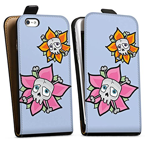 Apple iPhone X Silikon Hülle Case Schutzhülle Blume Totenkopf Skull Downflip Tasche schwarz