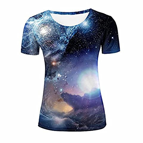 Bright Stars and Colorful Nebula Design Tees Tops for Womens L