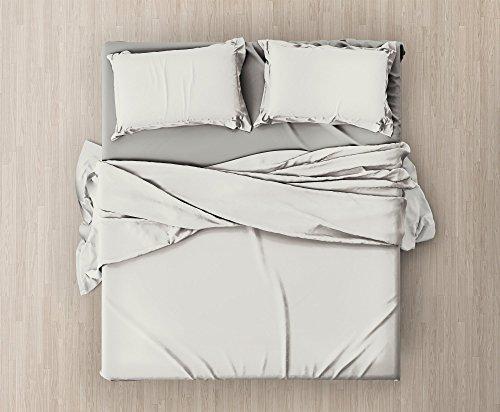 Set completo di lenzuola e federe da letto matrimoniale tinta unita,col. panna in microfibra