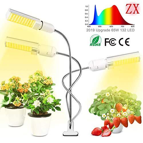HCDMRE Pflanze wachsen Licht, 132 LED DREI Kopf Vollspektrum Pflanze Lampe, 3 Arbeitsmodi für Hydrokultur Anbau Blume Zimmerpflanzen wachsen Zelt Licht (Wachsen 250-watt-led Licht)