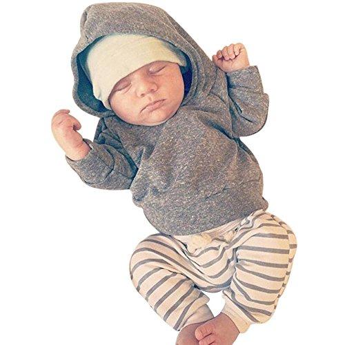 BeautyTop 2Pcs / Set Neugeborenes Baby Mädchen Mädchen Kapuzenmantel Tops + Gestreifte Hosen Legging Outfits Kleider Set (80/3-6 Monate, Grau) (Bt Kinder Kleid)