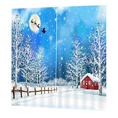 WUYANSE Weihnachten Neujahr Wohnzimmer Balkon Schlafzimmer Wasserdichte Vorhänge,Vorhänge 3D Digitaldruck Wasserdichte Polyester Dusche Splice Vorhänge mit Haken(170cm*200cm)