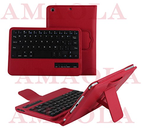 Top Universal Abnehmbare Leder Drahtlose Bluetooth Tastatur und Schutzhülle faltbar PINK, Schwarz, Rot, Weiß, UK für Android Tablets und Apple iPad Mini 4231