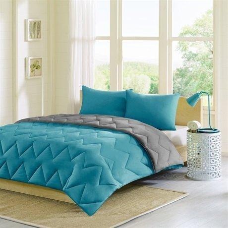 Intelligente Design Trixie wendbar Down Alternative Tröster Mini-Set, blaugrün/grau, King/CALIFORNIA King von JLA Home -