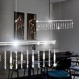 MIA Light LED Hängeleuchte aus Behang mit Kristallen klar in chrom, Touchdimmer