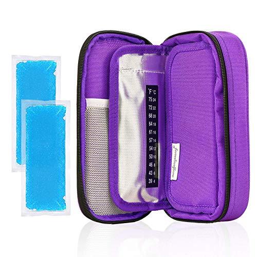YOUSHARES Insulin kühltasche Reise Tasche - Medikamente Diabetiker Isoliert Tragbaren Kühler Tasche für Insulin Pen und Diabetes kühltasche mit 2 Kühlakkus (Lila)