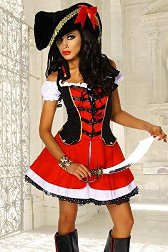 Traumhaftes Piraten-Kostüm rot 2-teilig GrS-M, Größe Atixo:S-M ()