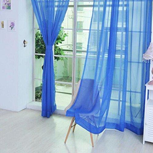 Color-pflege-behandlung (prelikes 2pc Romance Pure Color Tüll Tür Fenster Vorhang Tuch Panel Sheer Schal Volants, dunkelblau, 100cm x 200cm)
