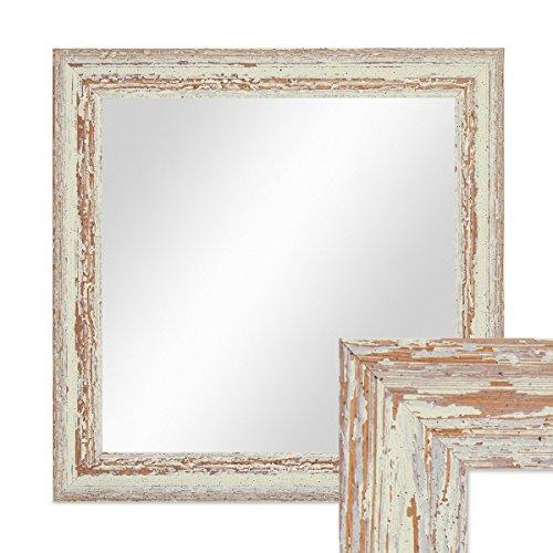 PHOTOLINI Wand-Spiegel 36x36 cm im Holzrahmen Weiss Shabby-Chic Vintage Quadratisch/Spiegelfläche 30x30 cm (Spiegel X 36 36)