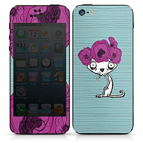 Apple iPhone SE Case Skin Sticker aus Vinyl-Folie Aufkleber Ugly Fashion Cat Katze Blumen DesignSkins® glänzend