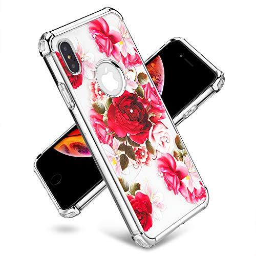 [Storm Buy ] Handy-Schutzhülle, kompatibel für [iPhone XS Max 2018] Hülle, Halloween-Ghost Phantom Spooky Serie, Schutzhülle aus stabilem Gummi (Boo), Rot/Blumenmuster