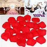 Gleader 100 x Petalo de Rosa Tela para Boda Fiesta Dia de San Valentin - Rosa Oscuro