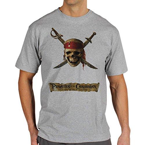 Skull Pirates Of The Carribian Herren T-Shirt Grau