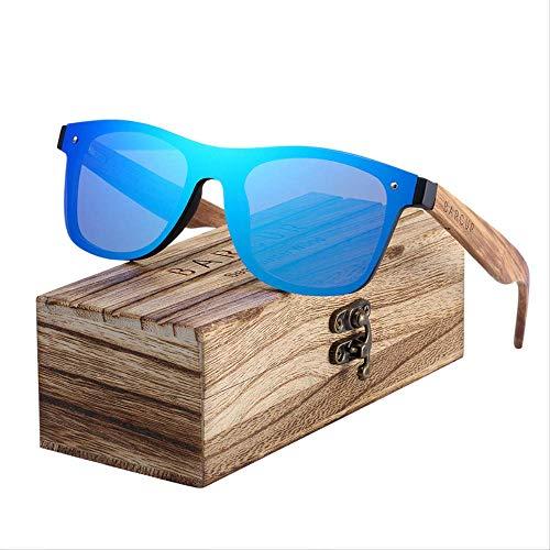 MJDL Trending Styles Randlos Schwarz Nussbaum Holz Sonnenbrille Herren Quadrat Damen Sonnenbrille Blau Nein Polarisiert