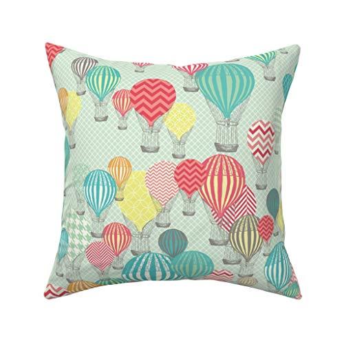 MrRui Decorative Pillow Covers Hot Air Balloons Square Kissenhülle Cotton Kissenbezug Home Decor for Sofa Car Bedroom 18x18 Inch -