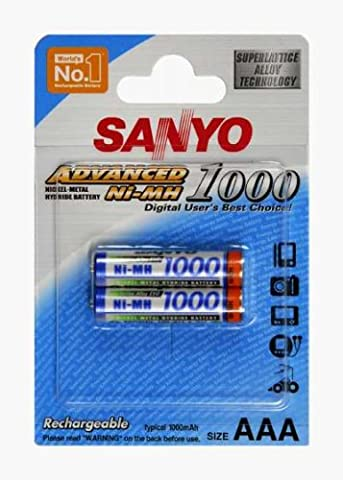 Sanyo Energie Accus Lot de 2 piles rechargeables Format AAA Micro (LR03) NiMh 900 mAh 1.2V