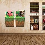 Minecraft Wandtattoo Wallsticker Sticker COW + PIG