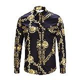 CHENS Camisa/Camisetas/Casual/Camisa de Primavera para Hombre Personalidad de la Moda Estampado de Cadena de Oro Negro Camisa de Manga Larga para Hombre