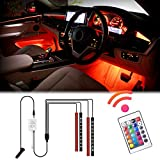 WOWLED Car LED Strip Lights Interior, 4pcs 36 LED Multicolor Interior Neon Lights Waterproof with Wireless Remote control, Car Charger Included, DC 12V