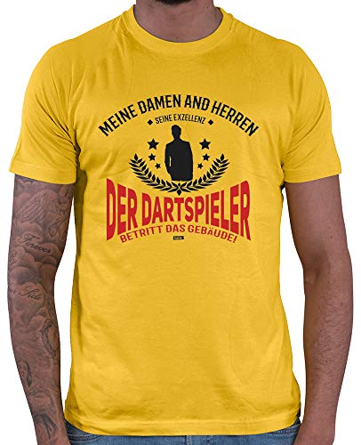 HARIZ Herren T-Shirt Seine Exzellens Dartspieler Dart Darten Männer Weltmeisterschaft Plus Geschenkkarten Gold Gelb XL