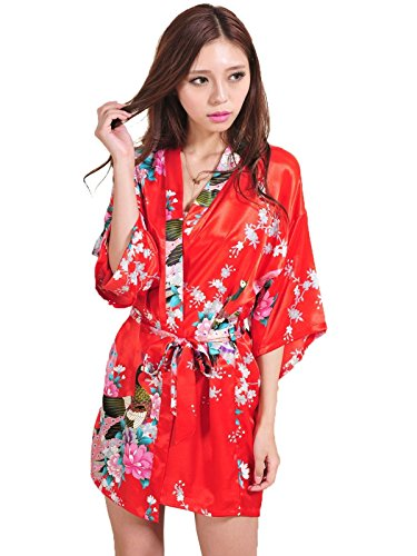 Yoliki Damen Morgenmantel Satin Bademantel Damen Kimono kurzer ...
