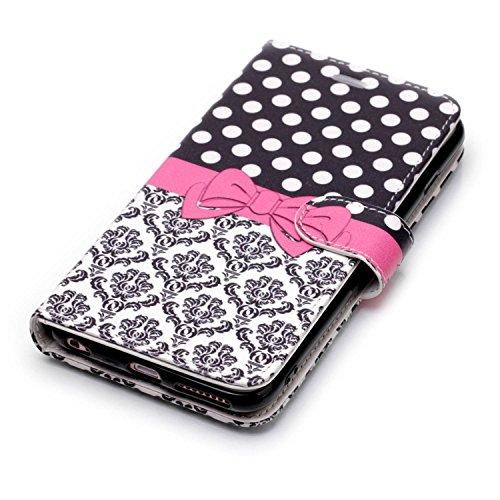 Coque iPhone 6s Plus,Etui iPhone 6 Plus,Slynmax un Tactile de Nœud Papillon Housse Flip Cover Clap2 1 Coque Protecteur Cuir PU Coque TPU Silicone Housse Portable Stand Carte pour iPhone 6 Plus/6s Plus