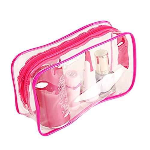 En plastique transparent Fermeture Éclair Voyage Maquillage trousse de toilette sac rose 15*7*10.5cm