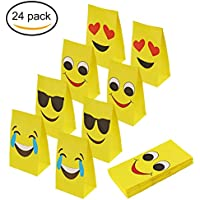 Aresmer Emoji Paper Bags Party Treat Bags for Kids, 4 Different Designs, Pack of 24