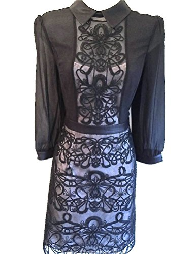 Karen-Millen-Black-Graphic-Lace-Embroidery-Shirt-Dress-Size-12