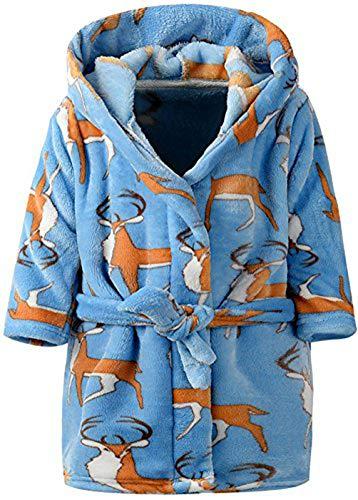 Kinder Bademantel Mit Kapuze Animal Print Morgenmantel Weiche Flanell Mit Kapuze Bademantel Kinder Mit Kapuze Nachtwäsche Robe (Blau Elch, 5T/ Höhe 120cm) - Grüne Herren-robe