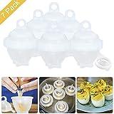 7 Egg Cooker Hard & Soft Maker, Cuiseurs à oeufs, sans coque, anti-adhésif en silicone, Pocheuse, Bouillie, cuiseur vapeur, cuit oeufs, Vu à la Télé
